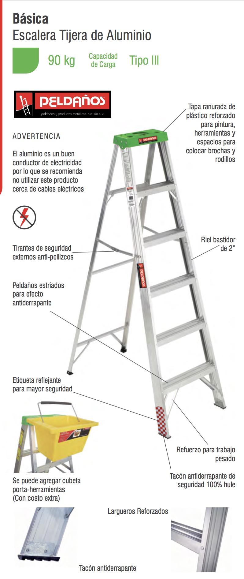 Escalera tijera aluminio 2 pelda os tipo iii 706716 for Escalera aluminio 2 peldanos