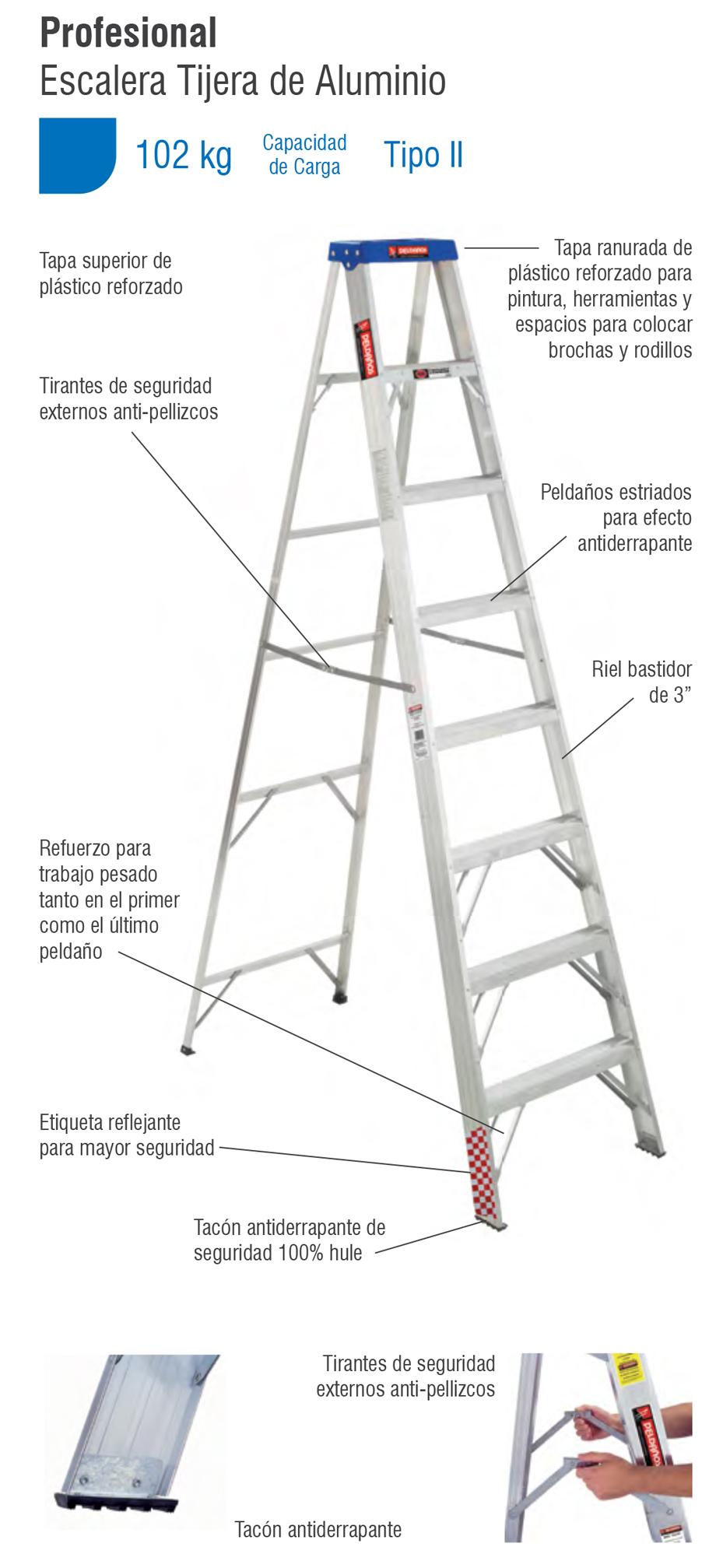Escalera tijera aluminio 2 pelda os tipo ii 706785 for Escalera aluminio 2 peldanos