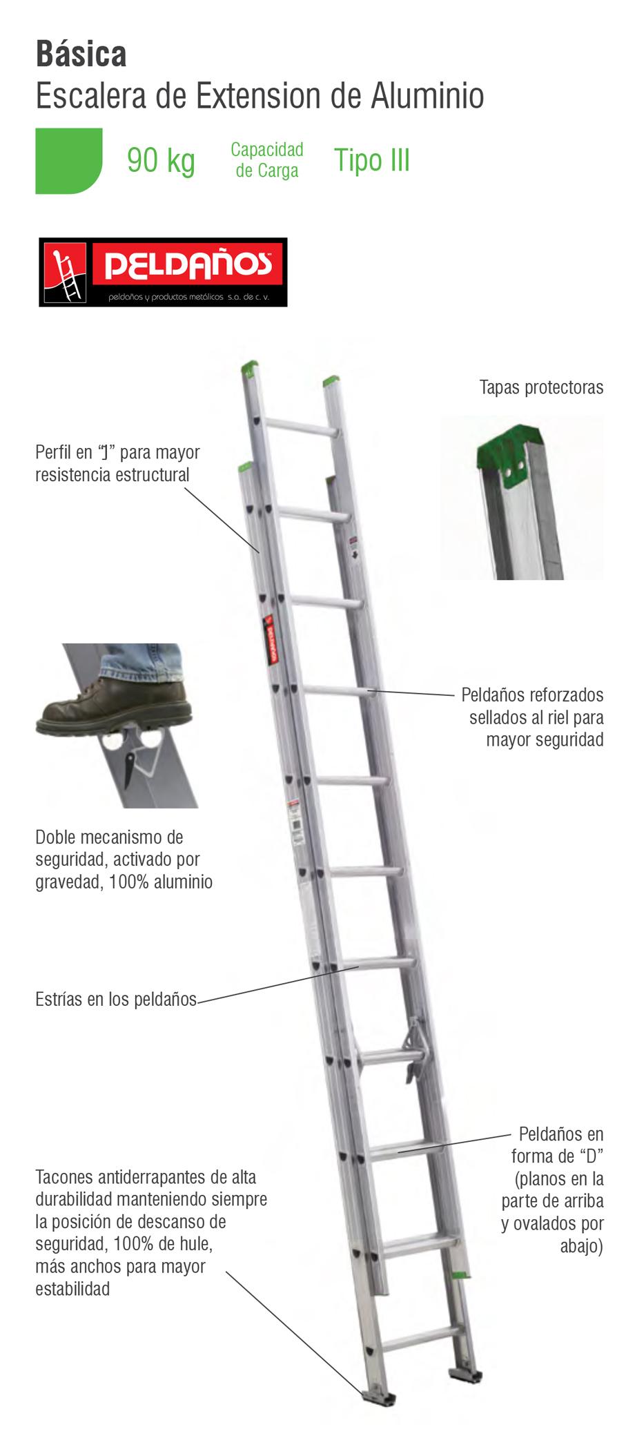 Escalera extensi n aluminio 16 pelda os tipo iii 112316 for Escalera de aluminio extensible 9 metros
