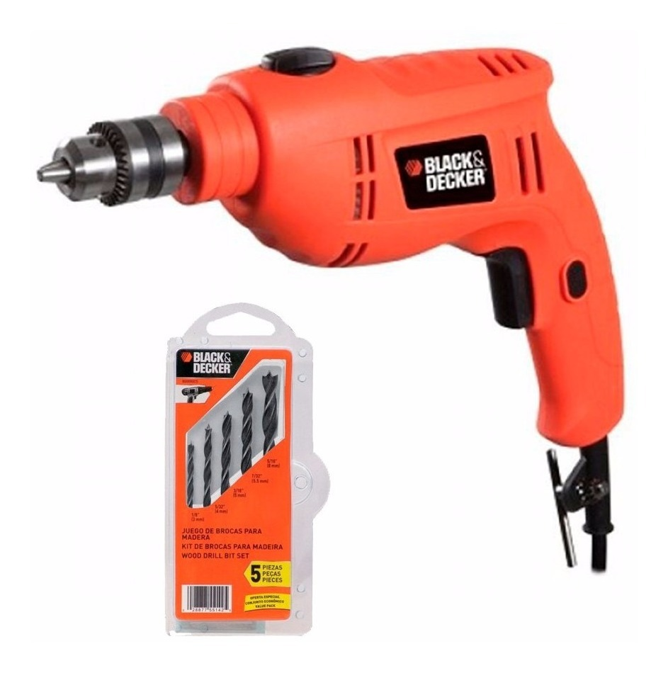 Taladro 3/8 10mm 550w Con 5 Brocas Gratis Tb550 Black&decker