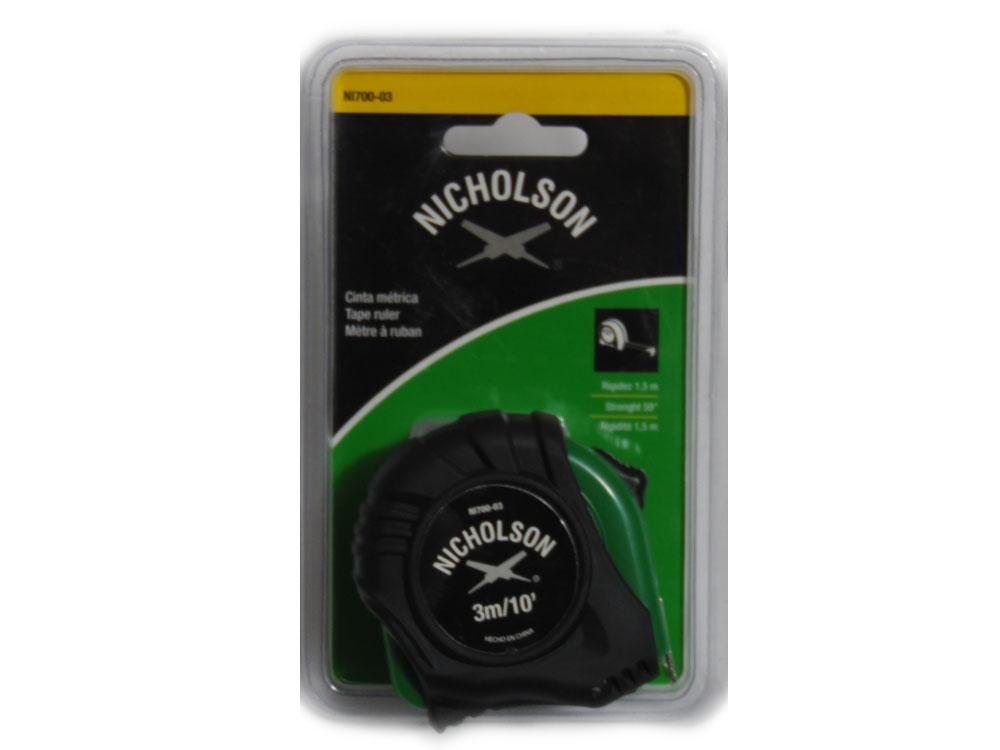 Flexómetro de 3 m. Color Verde Doble Marcado Mod NI700-03  Marca Nicholson