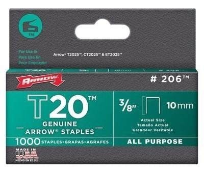 Grapa Para T2025 3/8 Pulgadas Con 1000 Piezas Plana Arrow