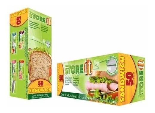 Bolsa Con Cierre Para Sandwich 16.5 X 14.9 Cm 50 Pzas Store It
