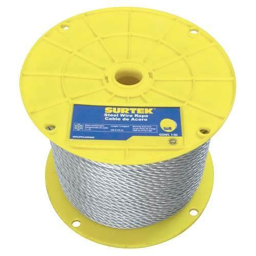 Cable De Acero Con Pvc 3/16 X76m Contrucción De 7x19 Cap3/16