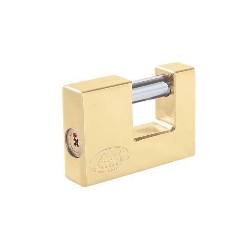 Candado Acero Cortina Llave Tetra 80mm Latón Brillante Lock