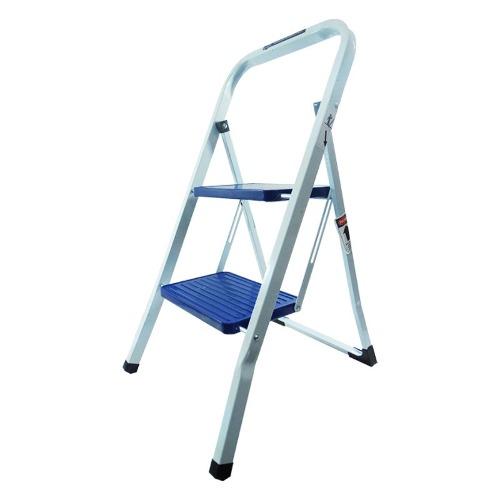 Escalera Domestica De Acero 2 Escalones Blanca/azul Peldaños
