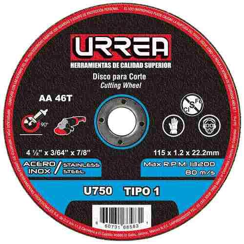 Disco T/1 Inox4-1/2x3/64 M/pes U750 Urrea
