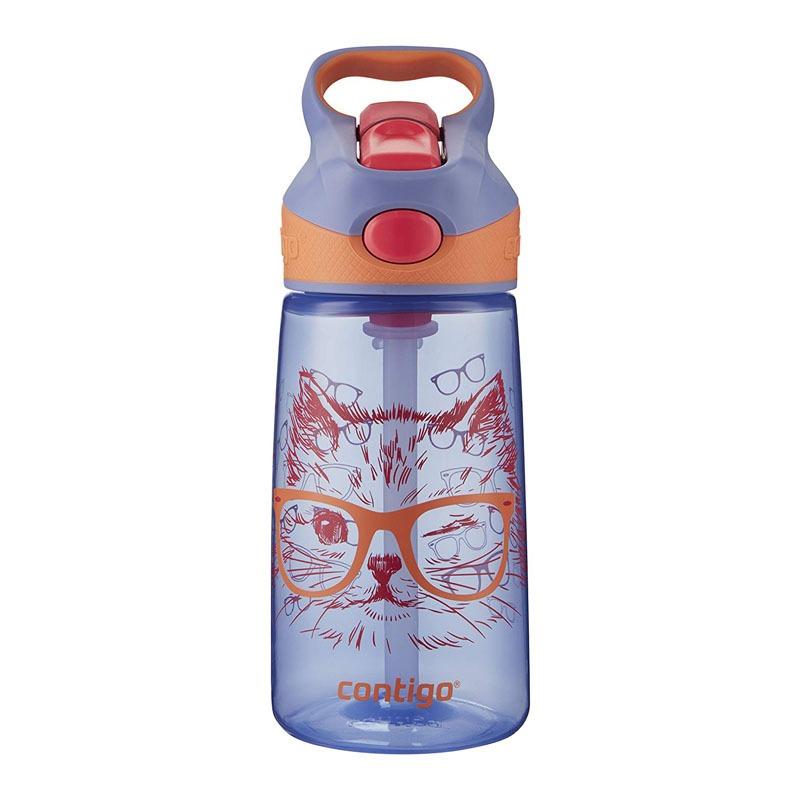 Botella Escolar Para Niños 14 Oz Autospout Gato Lila Contigo