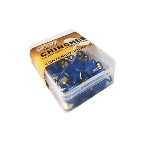 Chinche Azul Cajita Con 100 Piezas Tack Blue Obi