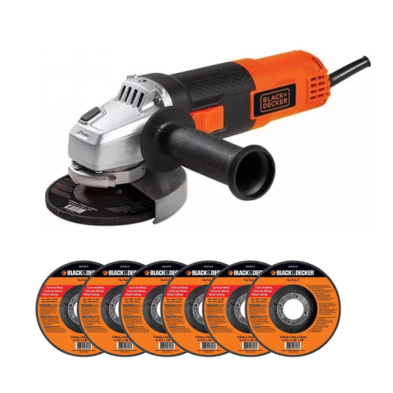 "Esmeril Angular 4 1/2"" 820 W con 5 Discos G720P-B3 Black & Decker"