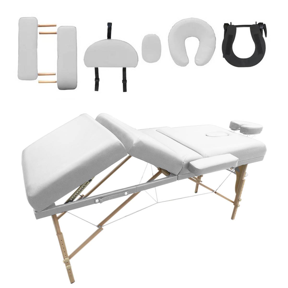 Cama Masaje Blanca 4 Secciones Plegable Spa Terapia Madera