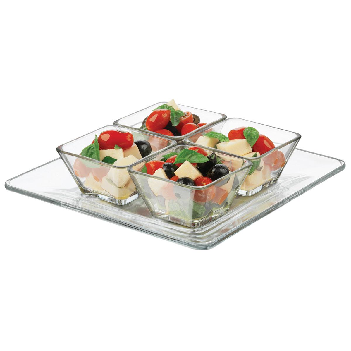 Juego Plato + 4 Mini Tazones Bowl Vidrio Tempo Cocina Libbey