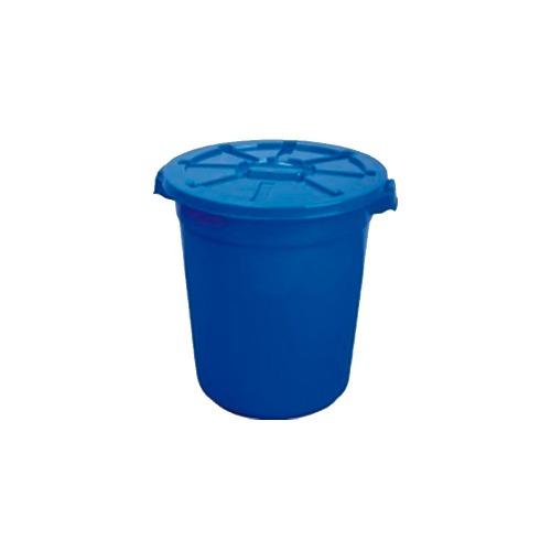 Bote Redondo Para Basura Con Tapa 150l 67x73 Azul/con Ruedas