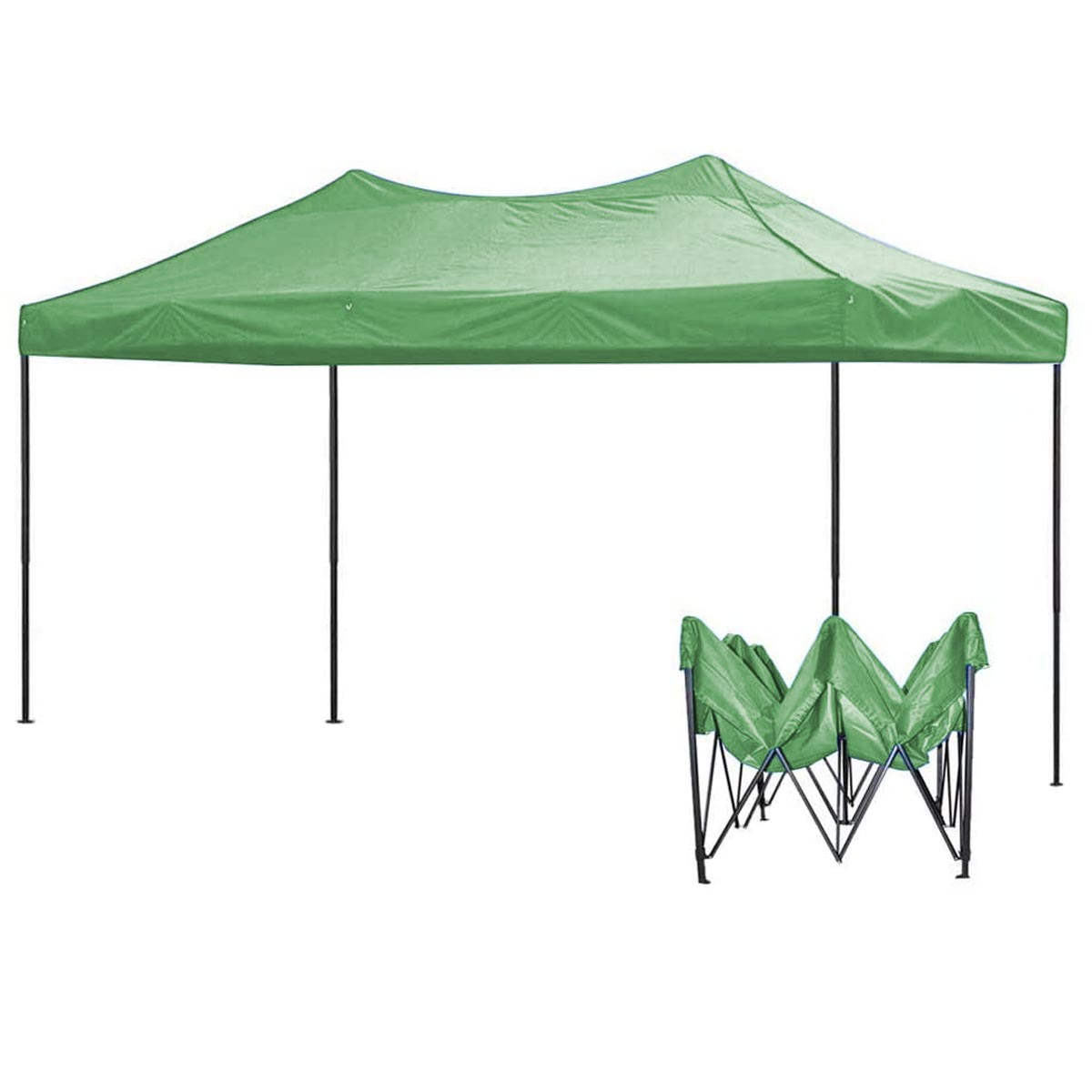 Toldo Carpa Impermeable Plegable Acero 3X4.5M Verde Kingsman