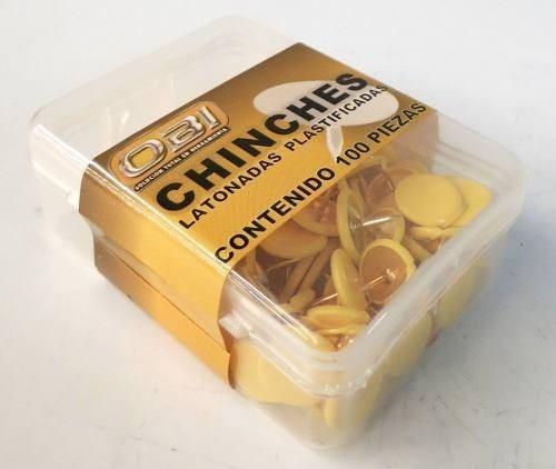 Chinche Amarilla Cajita Con 100 Piezas Tack Yell Obi