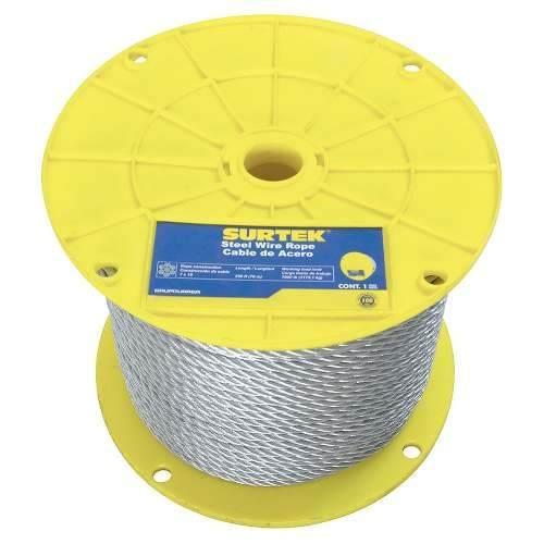 Cable De Acero Con Pvc 1/8 X76m Contrucción De 7x7 Cap1/8 Su