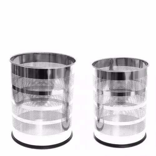 Juego De 2 Basureros Metal Cromado Diseño Con Puntos Namaro