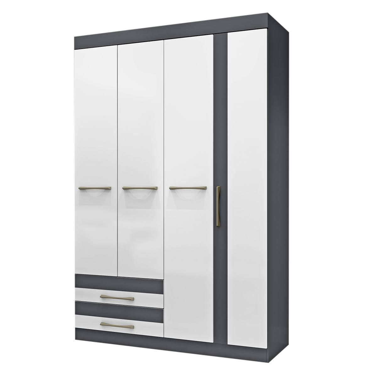 Mueble Armario Closet Ropero Organizador Puertas Gris Blanco