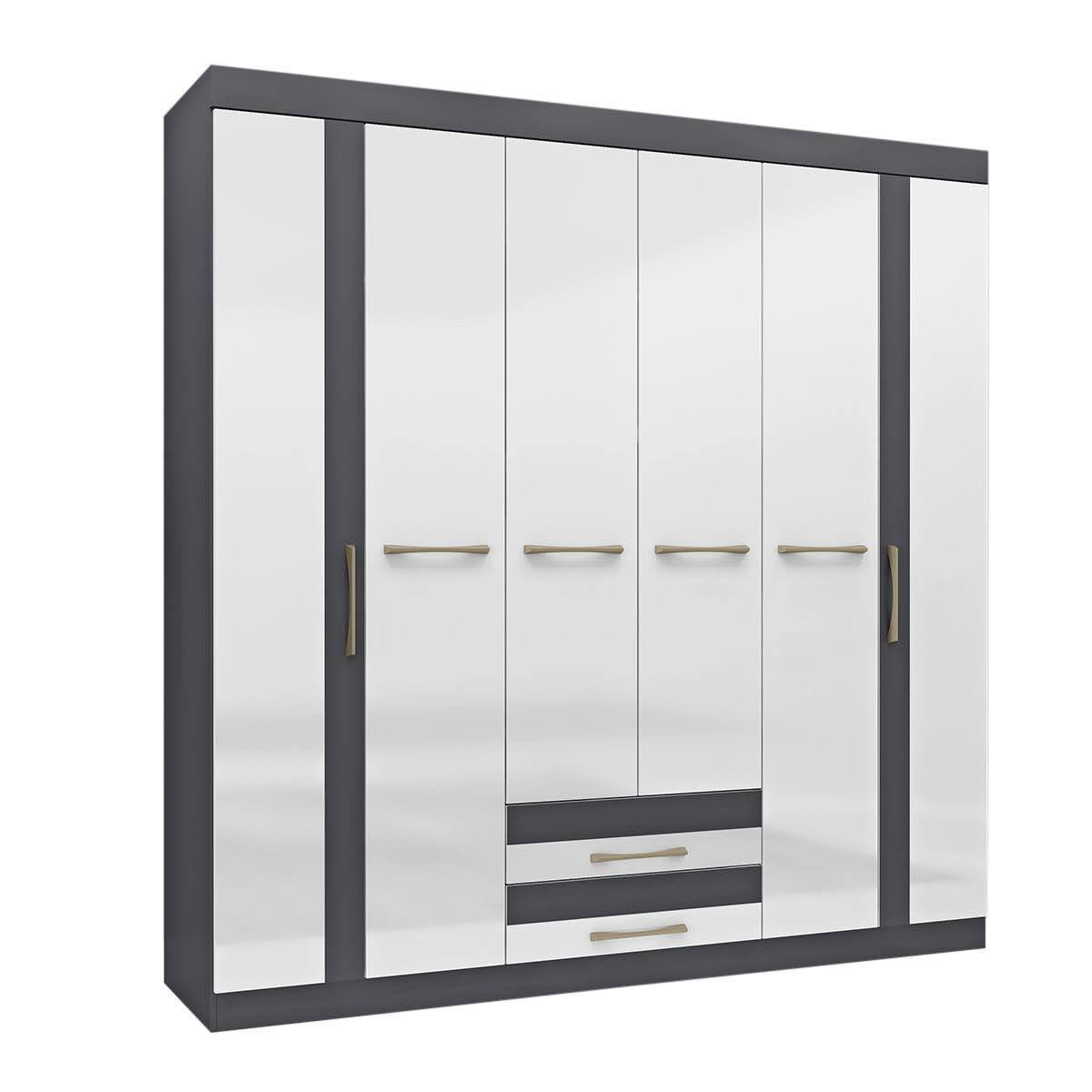 Mueble Ropero Armario Closet 6 Puertas Gris Blanco Recamara