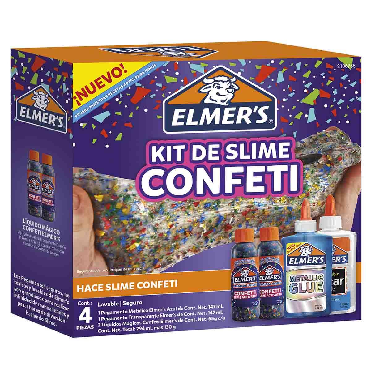 Kit Set Juego Slime Confeti 4 Piezas Para Niños Niñas Elmers