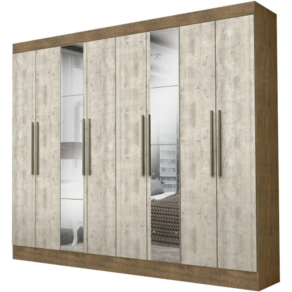Armario Closet Moderno + Espejo 3 Puertas 2Cajones Color Ipe