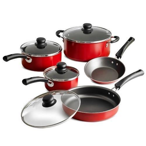 Bateria De Cocina Simple Cooking 9 Piezas Roja Tramontina