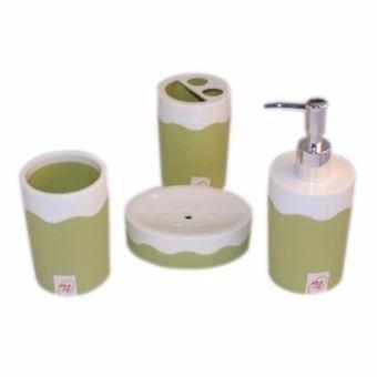 Set De Baño Con 4 Piezas Acabado Olas Verde Namaro Design