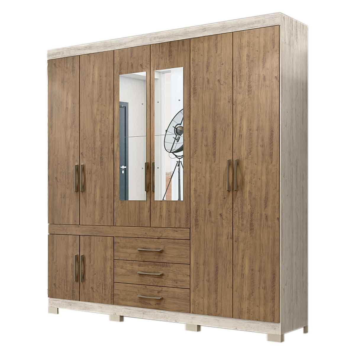 Armario Closet Moderno Espejo 4 Puertas Doble Vista 3Cajones