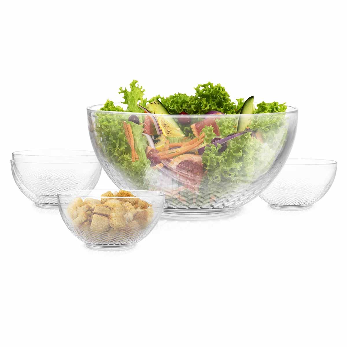 Juego Platon Tazon Ensaladera Bowl Merida 5Pzs Cocina Libbey
