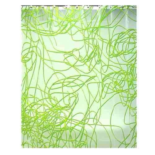 Cortina Para Baño Color Verde Con Blanco Diseño Spaguetti Mo