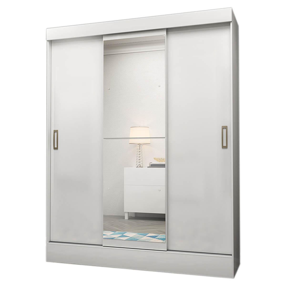 Armario Closet Moderno Con Espejo 3 Puertas 2 Cajones Blanco