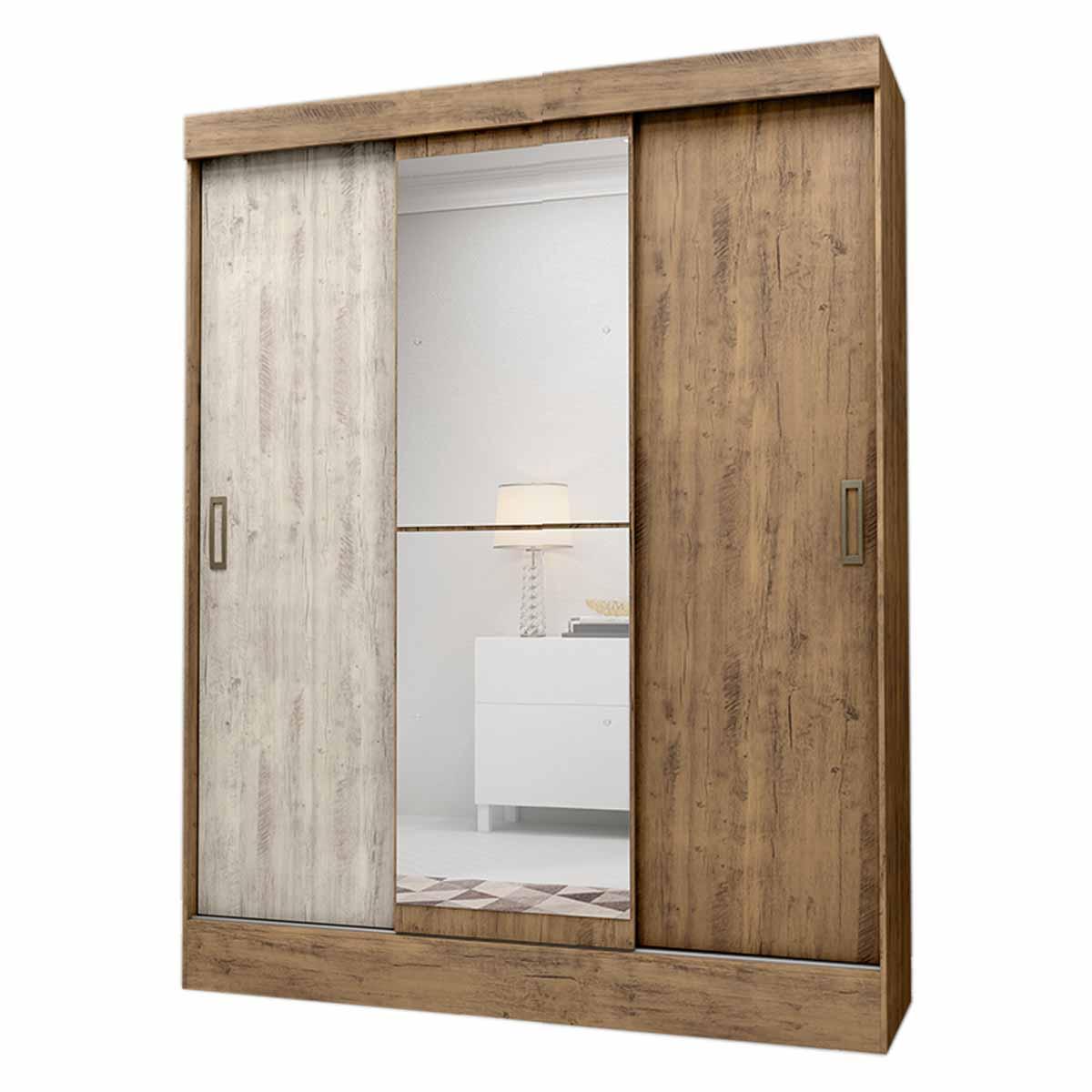 Armario Closet Moderno Espejo 3 Puertas Doble Vista 2Cajones