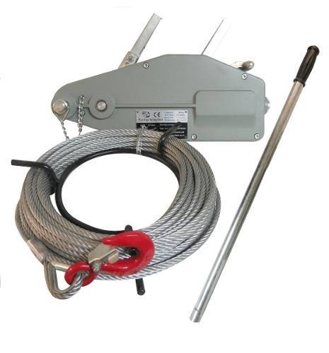 Malacate Tirfor 0,8 T Con Cable 8 Mm Y 20 Metros