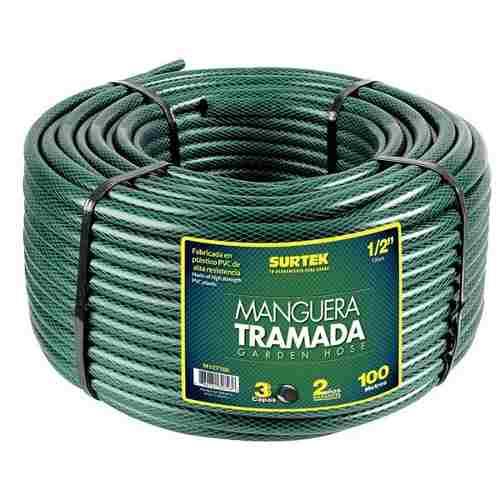 Manguera Tramada Verde 5/8in Rollo 100m M58t100 Surtek