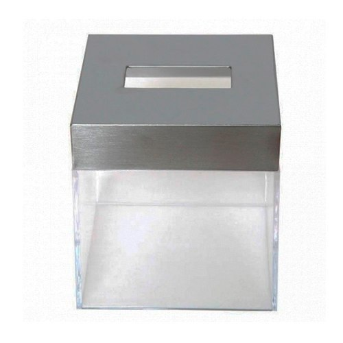Porta Kleenex Cuadrado De Pvc Y Acero Transparente Namaro