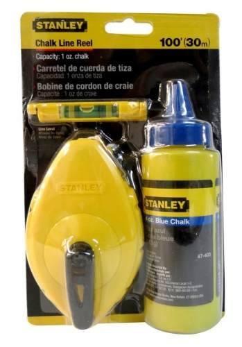 Plomada Tiralinea Con Tiza A 30 M Y Nivel Stanley 47443