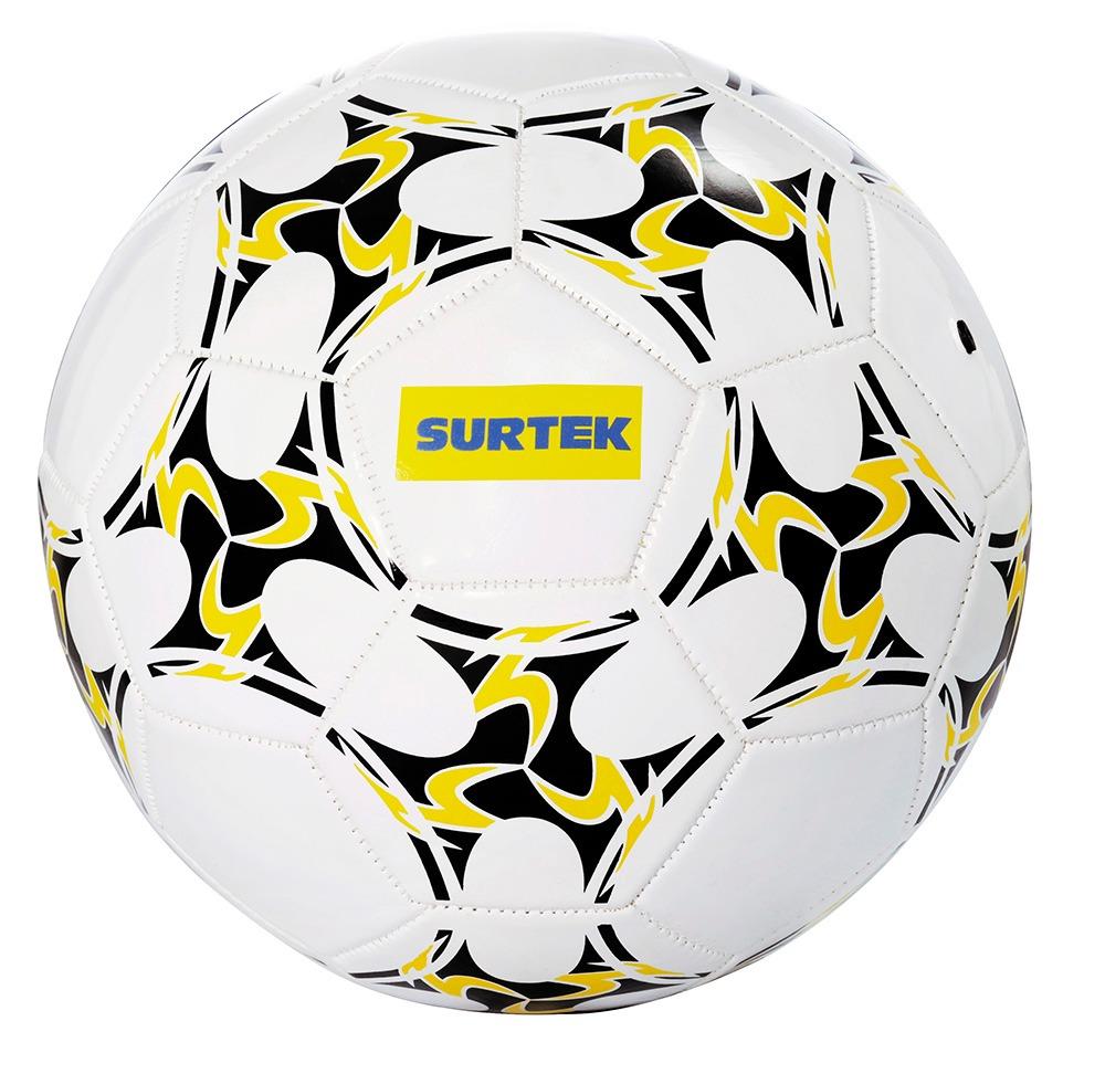 Balón De Fútbol #5 En Vinil Color Blanco Con Vivos En Azul Y