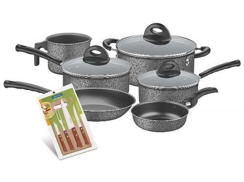 Bateria Cocina Lisboa Gris 9 Pzs + Cuchillos Tramontina