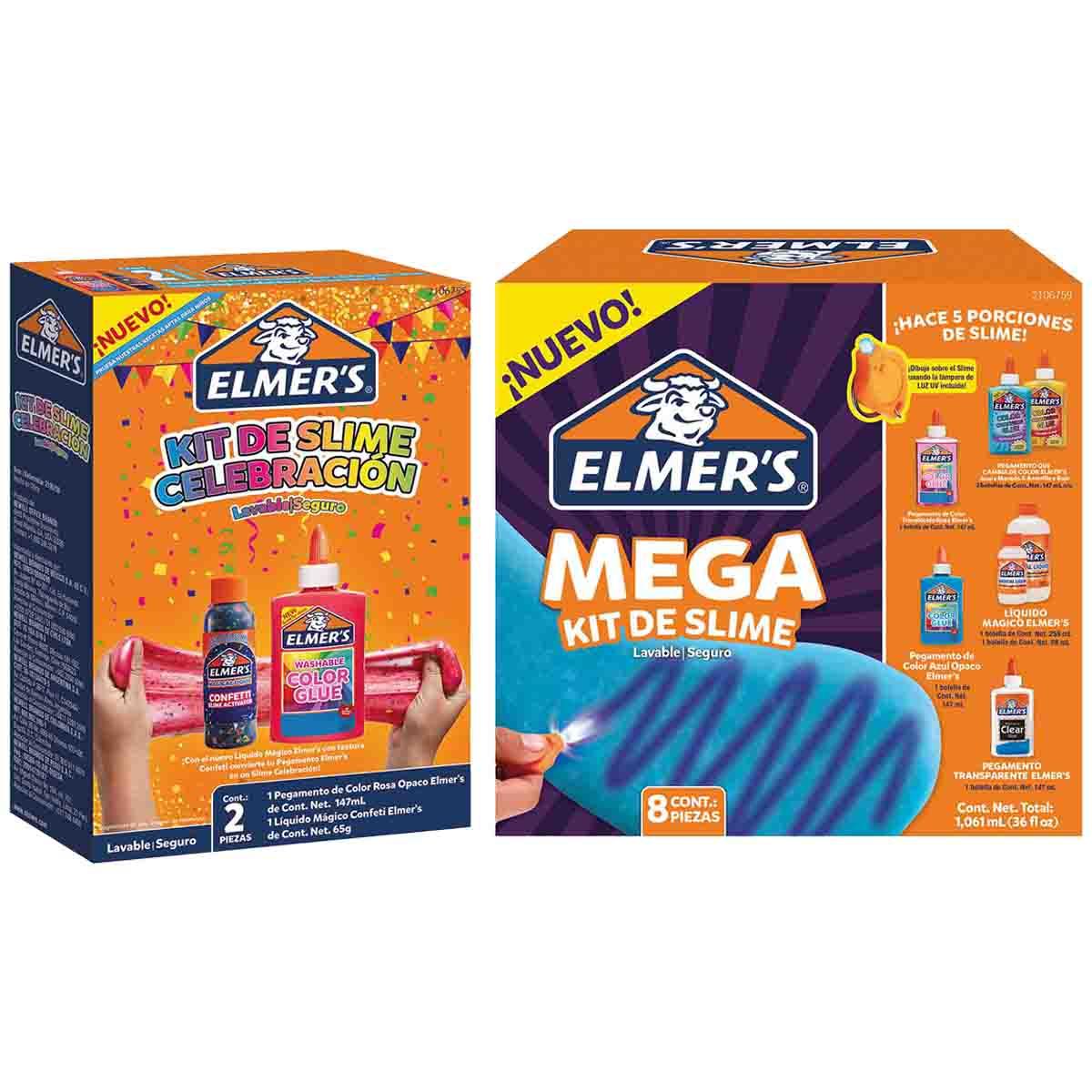 Kit Juego Slime Celebracion + Kit Mega Slime De Niños Elmers