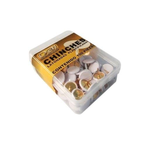 Chinche Blanca Cajita Con 100 Piezas Tack White Obi