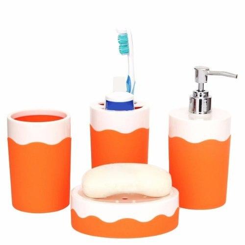 Set De Baño Con 4 Piezas Acabado Olas Naranja Namaro Design