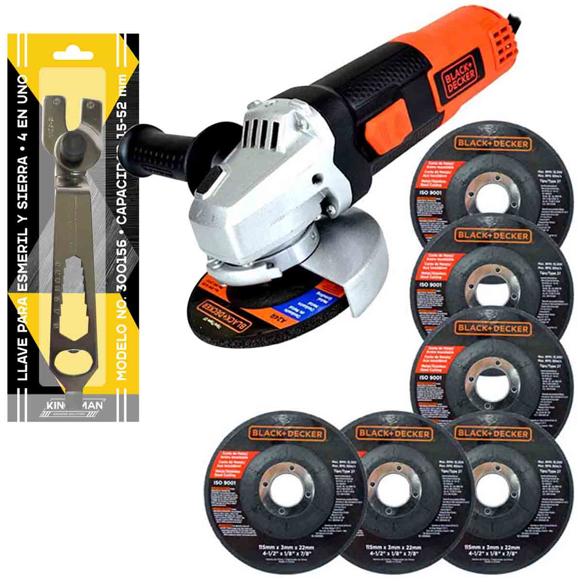 Esmeril Angular 4 1/2 820w 7 Disco Llave Regalo Black Decker