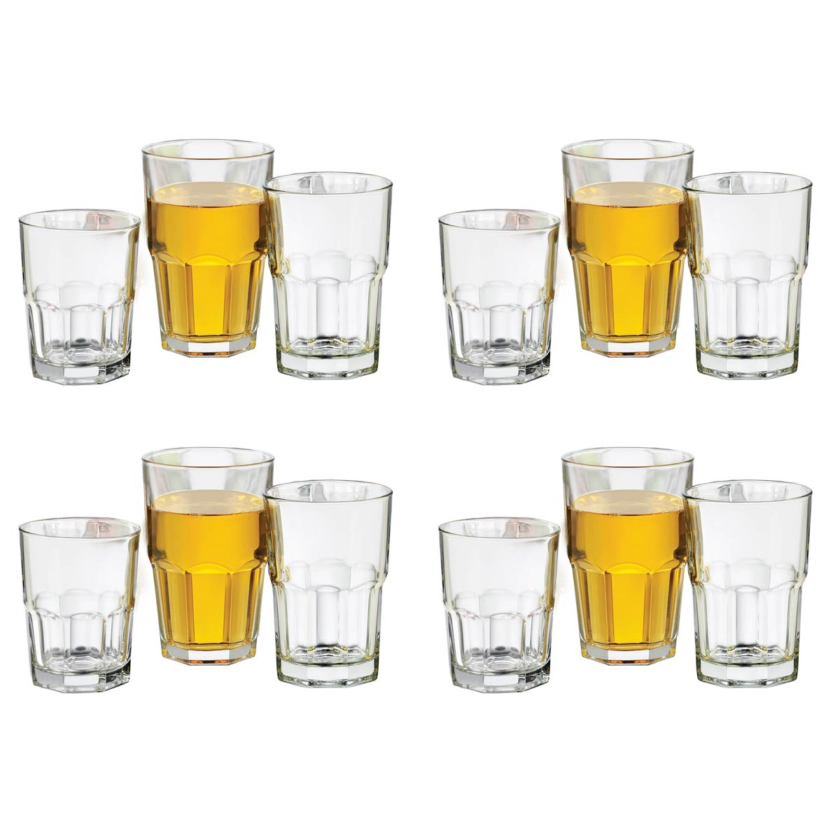 Juego Vasos Boston Vidrio 12Pzas Whisky Cocina Bar Libbey