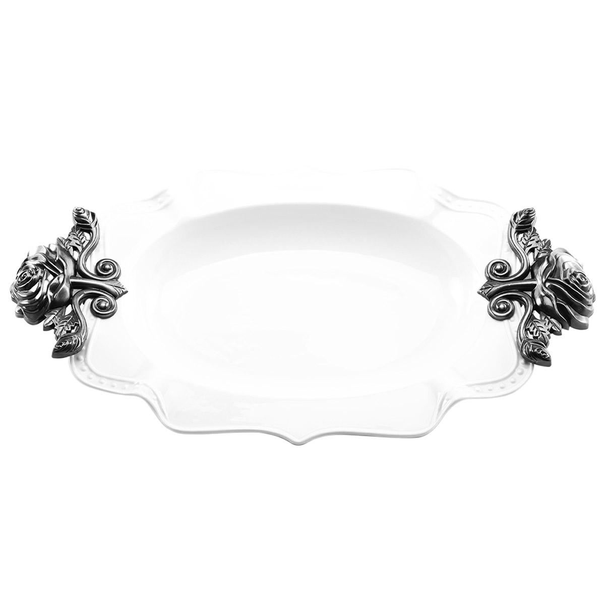 Platon Porcelana Hondo Blanco Agarraderas 38cm Crown Baccara