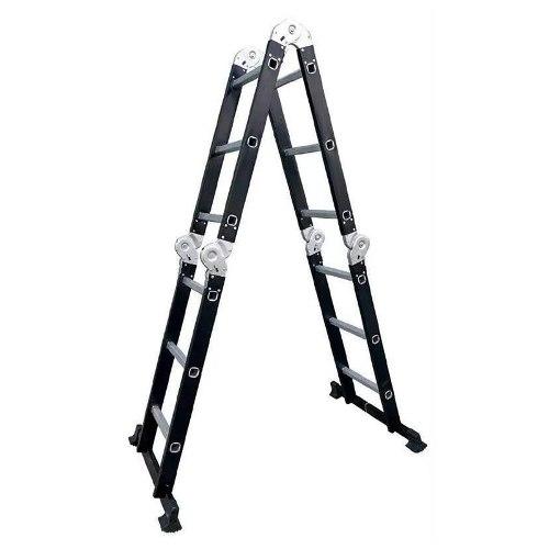 Escalera Multiposiciones 12 Peldaños 150kg Negro Peldaños