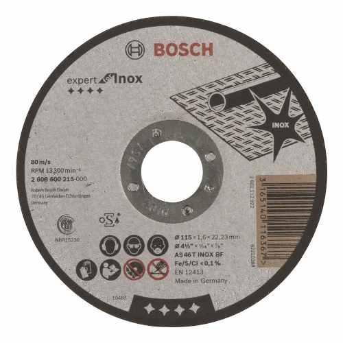 Disco Abrasivo Corte Exp Inox Cto Recto 4-1/2 X1/16 Ud Bosch