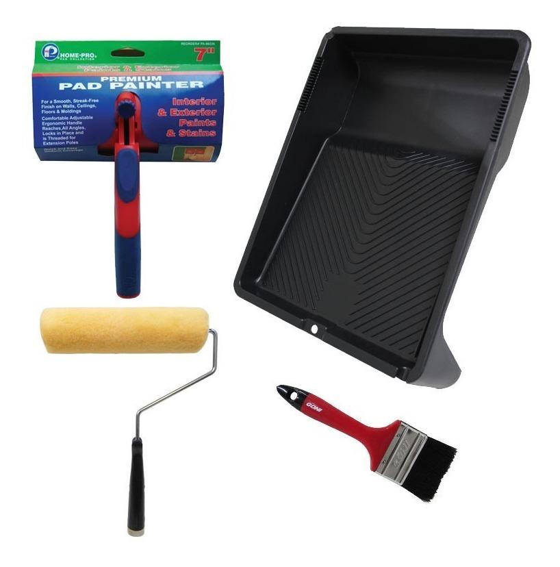 Kit Pintar Charola Ultra Rigida+ Rodillo + Brocha + Pad Goni