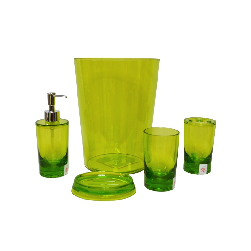 Set De Baño 5 Pzs Dispensador + Jabonera + Vaso Verde Namaro
