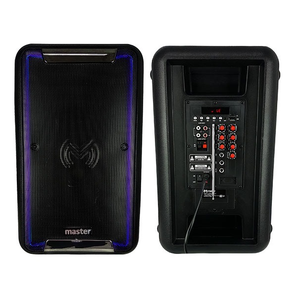 "Bocina bluetooth de 8"", portátil, FM, lector USB y tarjeta TF"