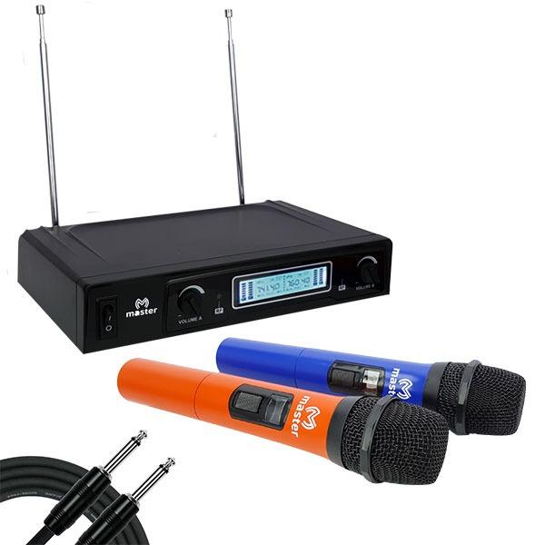 Sistema de micrófonos inalámbricos VHF con un alcance de 60 mts